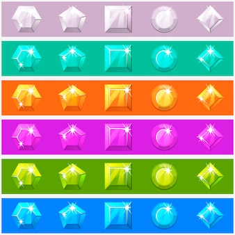 Conjunto de diamantes dos desenhos animados em cores diferentes editáveis