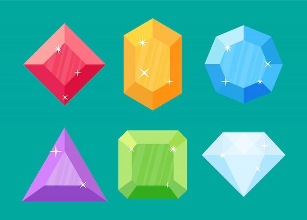 Conjunto de diamantes em várias formas.