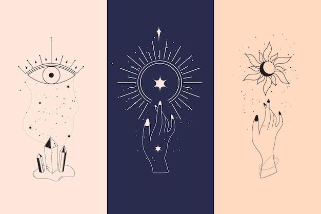 Conjunto de diamantes mágicos e mãos de mulher com ilustrações em estilo crescente de lua