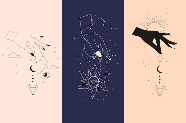 Conjunto de diamantes mágicos e mãos de mulher com lua crescente em ilustrações de estilo linear boho