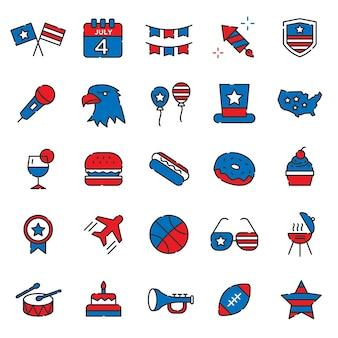 Conjunto de dias de independência do estado unido da américa
