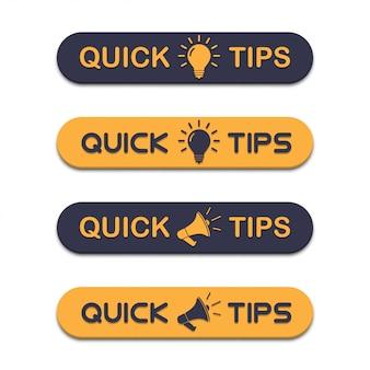 Conjunto de dicas rápidas com megafone e lâmpada em um design plano