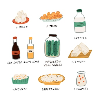 Conjunto de diferentes alimentos e bebidas contendo probióticos. alimentos fermentados e laticínios de leite. conceito de alimentação saudável para forte sistema imunológico e perda de peso