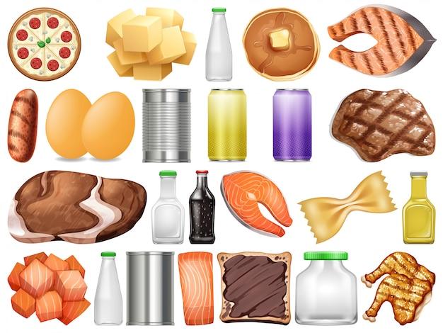 Conjunto de diferentes alimentos e bebidas