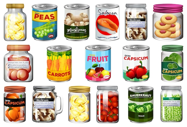 Conjunto de diferentes alimentos enlatados e alimentos em potes isolados
