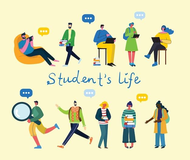 Conjunto de diferentes alunos com gadgets e livros