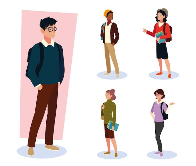 Conjunto de diferentes alunos do sexo masculino e feminino com bolsas e óculos