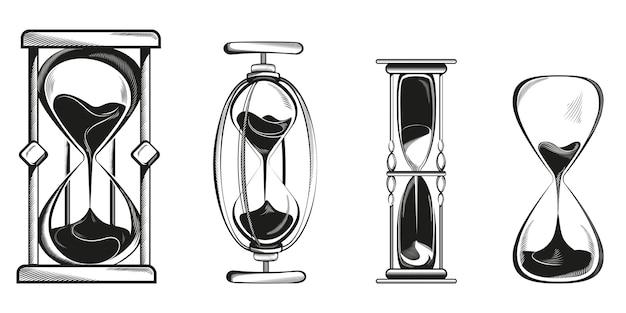 Conjunto de diferentes ampulhetas isoladas em branco
