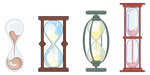 Conjunto de diferentes ampulhetas. relógio com areia fluindo em estilo plano linear.