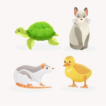 Conjunto de diferentes animais de estimação
