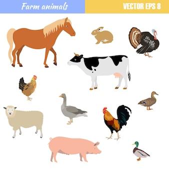 Conjunto de diferentes animais de fazenda