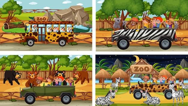 Conjunto de diferentes animais em cenas de safári com crianças