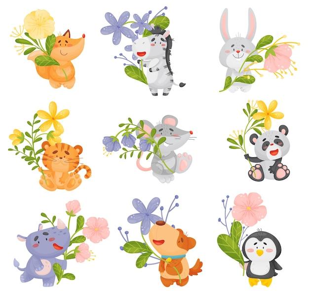 Conjunto de diferentes animais fofos com flores