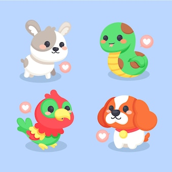 Conjunto de diferentes animais fofos