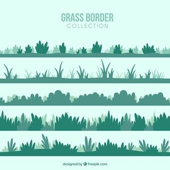 Conjunto de diferentes arbustos e grama