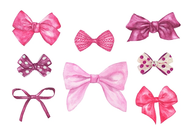 Conjunto de diferentes arcos decorativos de presente rosa. ilustração em aquarela.
