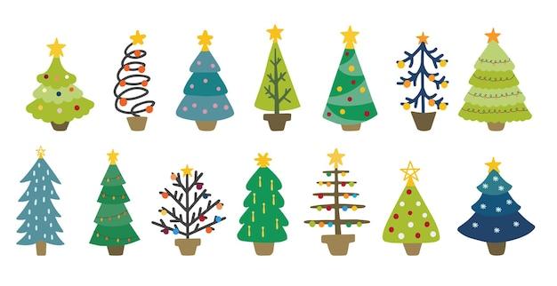 Conjunto de diferentes árvores de natal decorativas. elementos do vetor para o projeto de natal e ano novo. ilustrações desenhadas à mão em um estilo infantil simples.