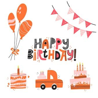 Conjunto de diferentes atributos de aniversário bolo de balões de letras de feliz aniversário