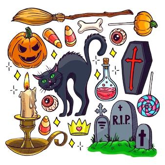 Conjunto de diferentes atributos de halloween. ilustração desenhada à mão