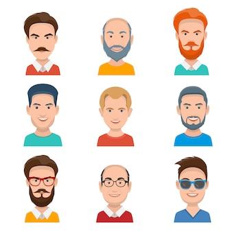 Conjunto de diferentes avatares masculinos. ilustração