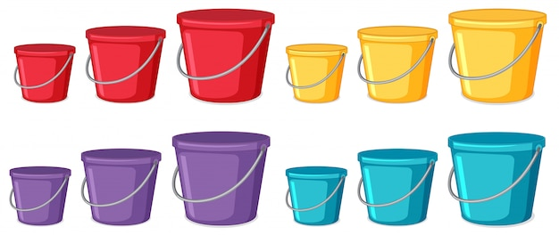 Conjunto de diferentes baldes coloridos