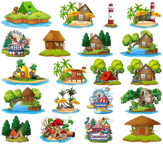 Conjunto de diferentes bangalows e tema de ilha de praia e parque de diversões isolado