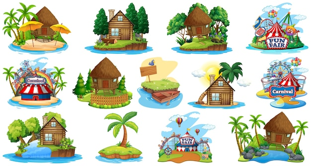 Conjunto de diferentes bangalows e tema de praia da ilha e parque de diversões isolado no branco