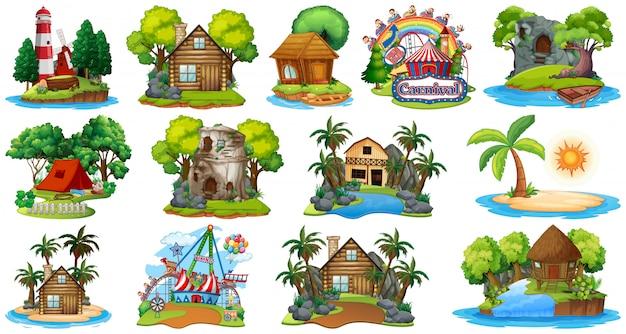 Conjunto de diferentes bangalows e tema de praia ilha e parque de diversões em fundo branco