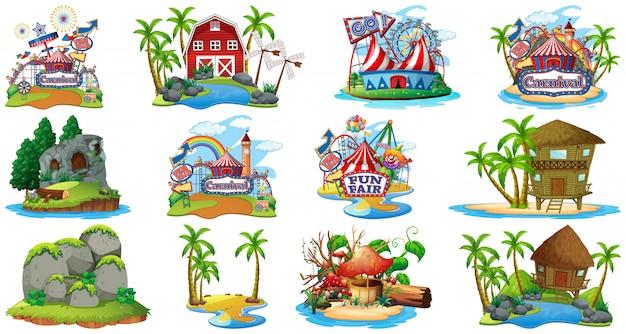 Conjunto de diferentes bangalows e tema de praia ilha e parque de diversões, isolado no fundo branco