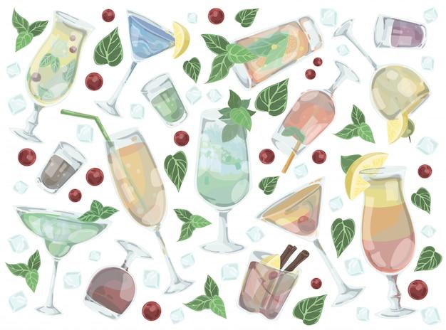 Conjunto de diferentes bebidas e coquetéis alcoólicos.