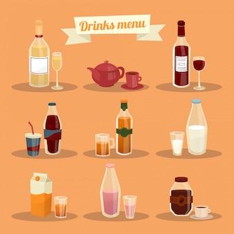 Conjunto de diferentes bebidas no ware