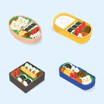 Conjunto de diferentes bento. coleção de lancheiras japonesas. comida de desenho animado. ilustração vetorial colorida isométrica.