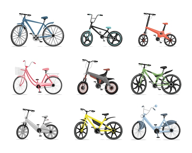 Conjunto de diferentes bicicletas. bicicletas azuis, vermelhas, rosa, verdes, cinzas e amarelas isoladas no fundo branco.