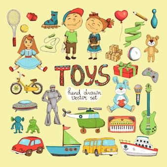Conjunto de diferentes brinquedos de desenho animado