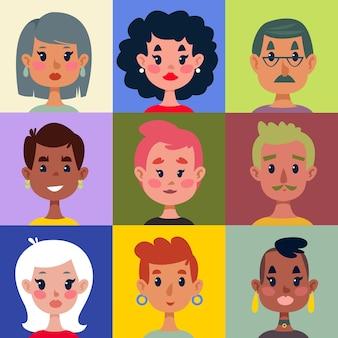 Conjunto de diferentes cabeças de homens e mulheres em um fundo multicolorido brilhante. impressão para crianças