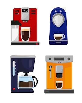 Conjunto de diferentes cafeteiras e máquinas de café para casa e escritório em fundo branco. ilustração.