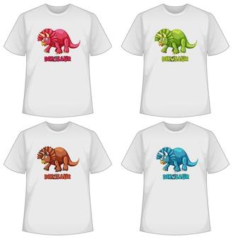 Conjunto de diferentes camisetas com dinossauros