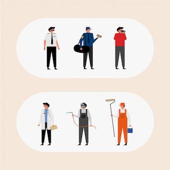 Conjunto de diferentes carreiras profissão pessoas caráter