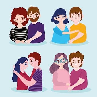 Conjunto de diferentes casais amam personagens de desenhos animados românticos