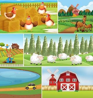 Conjunto de diferentes cenários de fazenda com animais de fazenda