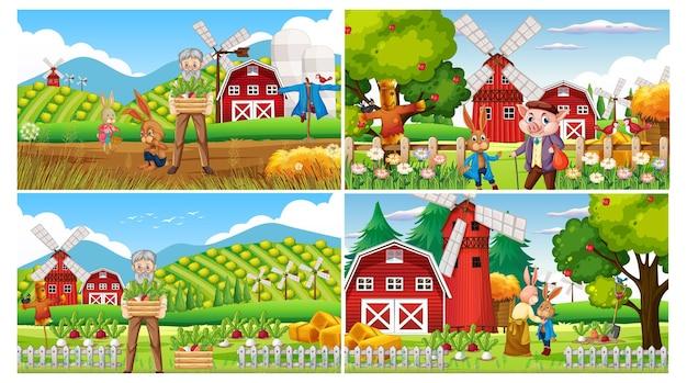 Conjunto de diferentes cenários de fazenda com um velho fazendeiro e animais de fazenda