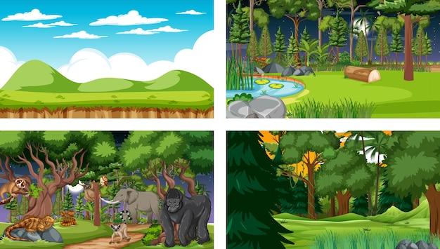 Conjunto de diferentes cenários horizontais de floresta com vários animais selvagens
