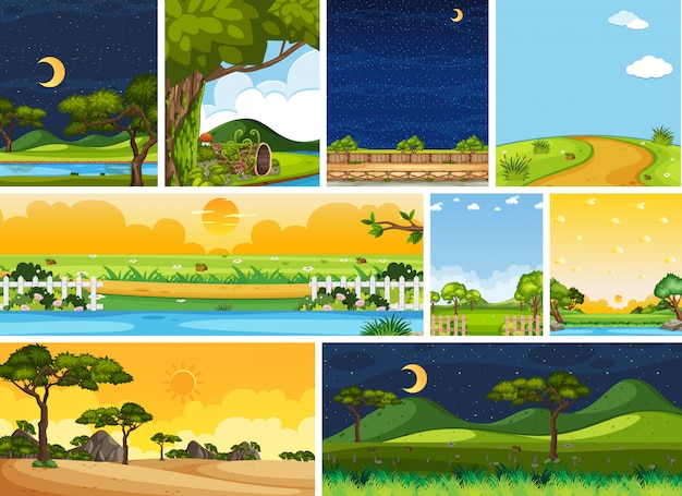 Conjunto de diferentes cenários naturais em cenas verticais e horizontais durante o dia e a noite