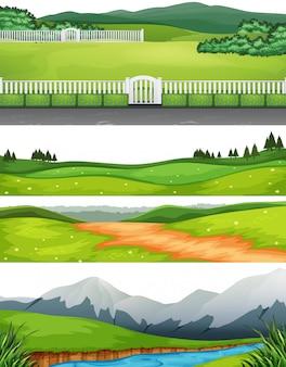 Conjunto de diferentes cenas ao ar livre