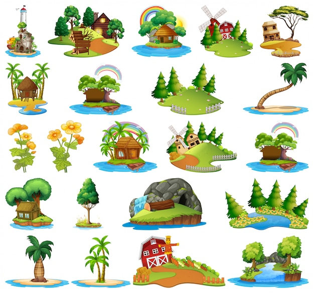 Conjunto de diferentes cenas da ilha