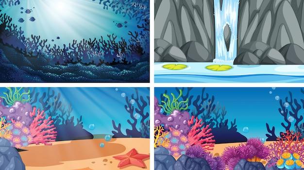 Conjunto de diferentes cenas de água