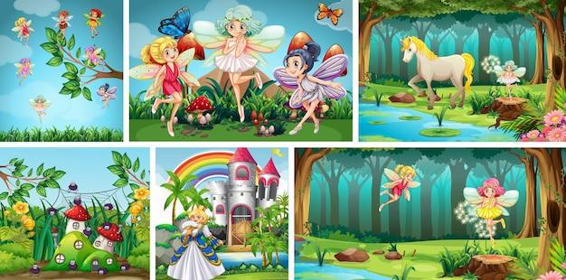 Conjunto de diferentes cenas de fantasia de fada
