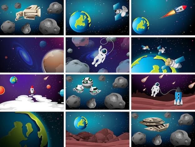 Conjunto de diferentes cenas de fundo do espaço