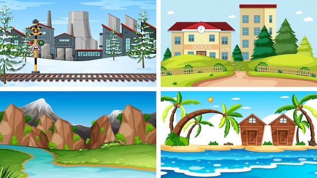Conjunto de diferentes cenas de fundo