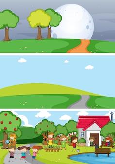 Conjunto de diferentes cenas de horizonte com personagem de desenho animado doodle